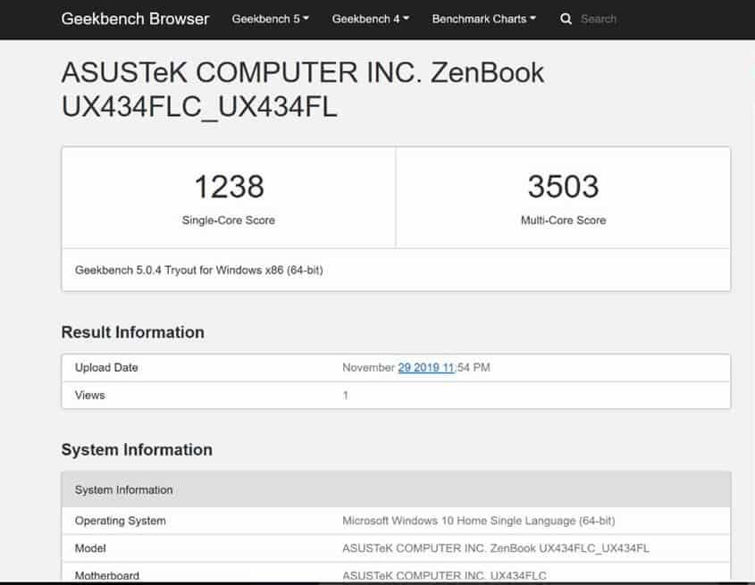 Performa Zenbook 14 UX 434