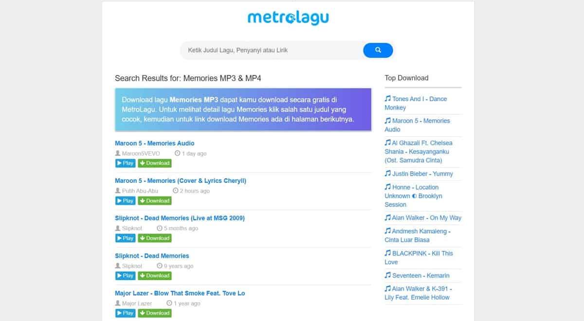 METROLAGU 3 CARA DOWNLOAD LAGU GRATIS