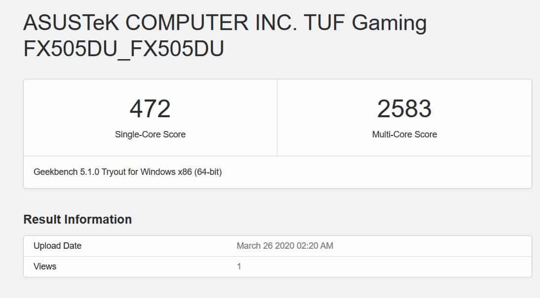 Geekbench 5 asus tuf fx505du