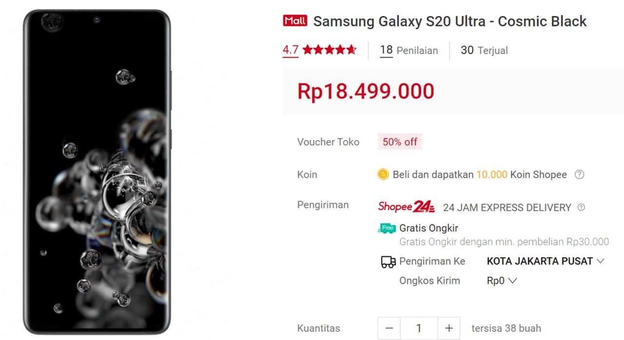harga samsung galaxy s20 ultra
