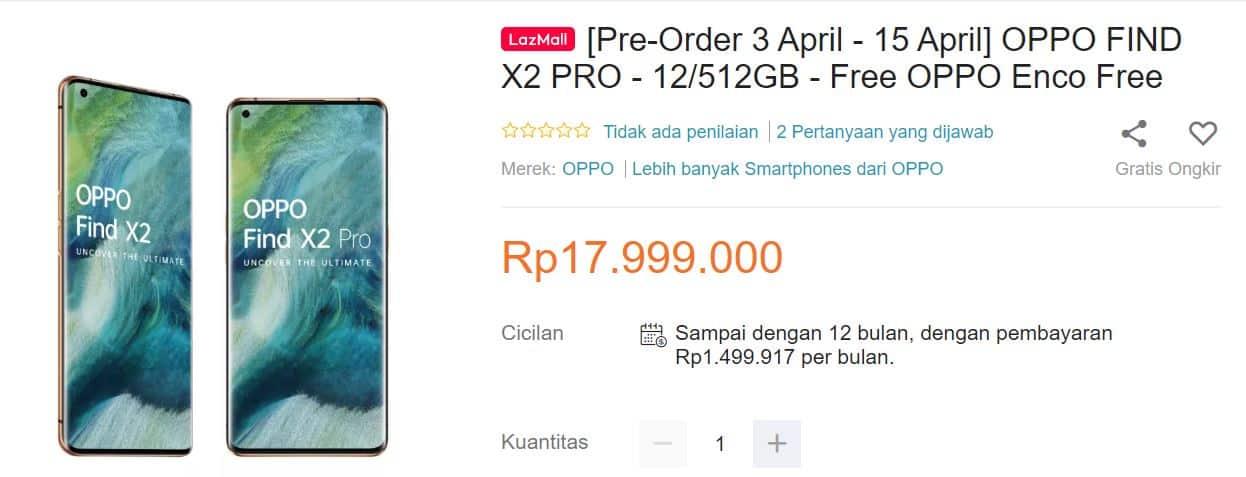 harga OPPO FIND X2 PRO