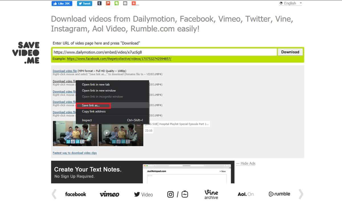 Download lewat savevideo