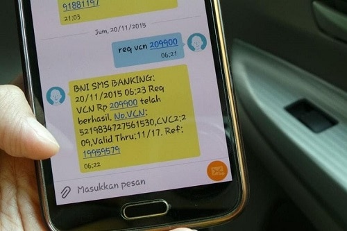 Melalui SMS Banking