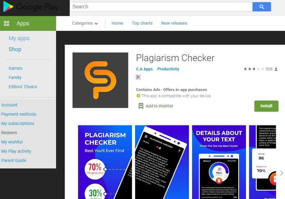 C A App Plagiarism Checker